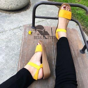Shoes - Vegan Suede Yellow Comfortable Platform Sandals